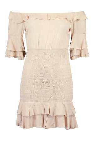 Off Shoulder Cheesecloth Mini Dress | boohoo