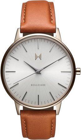 Boulevard Leather Strap Watch, 38mm