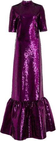 Huishan Zhang Kora Sequin-Embellished Gown