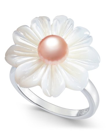 Macy's Pink Cultured Freshwater Button Pearl & Mother-of-Pearl Flower Sterling Silver Statement Ring