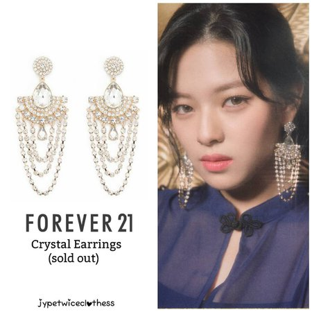 """Twice's Fashion on Instagram: """"JEONGYEON FEEL SPECIAL TEASER FOREVER 21- Crystal Earrings (sold out) #twicefashion #twicestyle #twice #nayeon #jeongyeon #jihyo #momo…"""""""