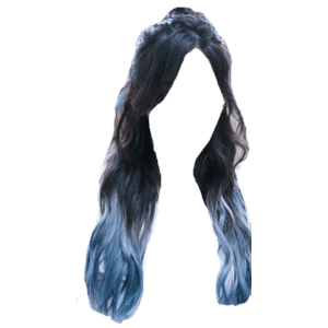 Black Hair with Blue Tips PNG