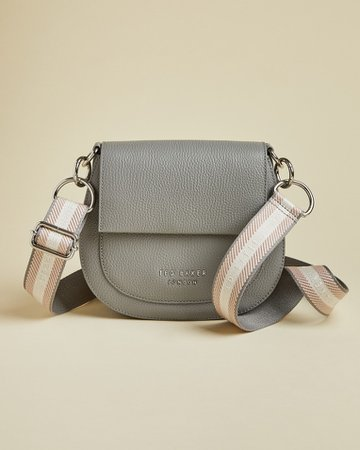 Leather round cross body bag - Grey | Bags | Ted Baker UK