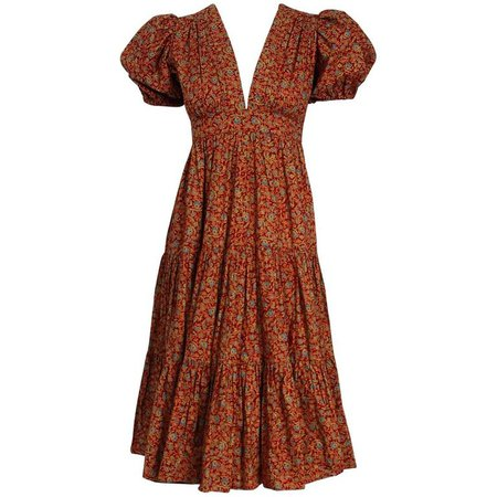 Ossie Clark Burgundy Floral Print Cotton Empire Plunge Puff Sleeve Dress, 1975 at 1stdibs