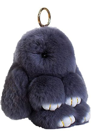Bunny Keychain Cute Rex Rabbit Faux Fur Keychain Car Handbag Keyring 5.5in, Gray at Amazon Women's Clothing store