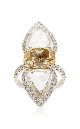 Papillon Yellow And White Diamond Ring by Busatti | Moda Operandi