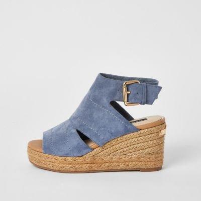 Beige open toe wedge sandals | River Island