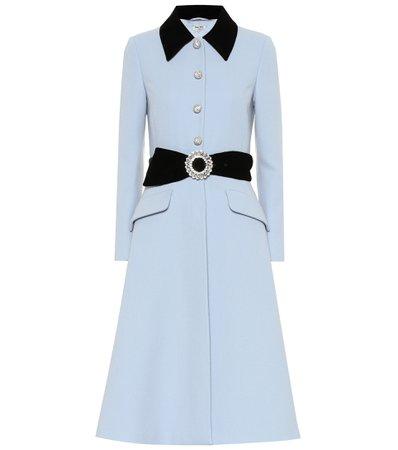 Miu Miu, Velvet-Trimmed Wool Coat