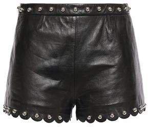 Studded Scalloped Leather Shorts