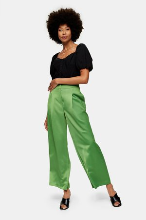 Green Satin Suit Pants