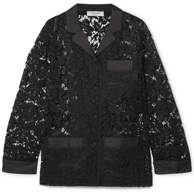 Satin-trimmed Corded Lace Shirt - Black