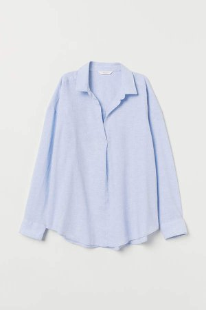 V-neck Linen-blend T-shirt - Blue
