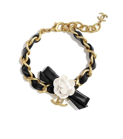 Bracelet, metal, calfskin and rhinestones, gold, mother of pearl white, black and glass - CHANEL