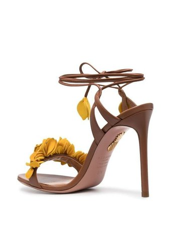Shop yellow Aquazzura Bougainwillea 105mm sandals with Express Delivery - Farfetch