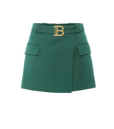 Wool Green Mini Skirt