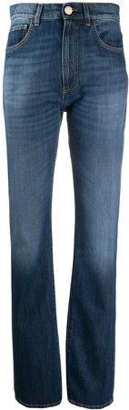 high-waisted straight leg jeans