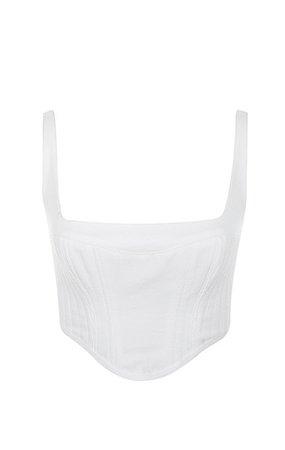 Clothing : Tops : 'Ilona' White Woven and Bandage Corset