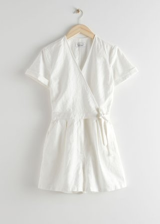 Linen Blend Wrap Romper - White - Jumpsuits & Playsuits - & Other Stories