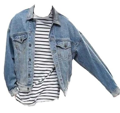 blue jean jacket over a black and white striped tee shirt