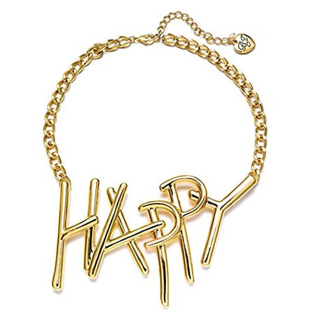"Betsey Johnson ""xox Trolls"" 'Happy' 18-in Gold-Tone Necklace: Clothing"