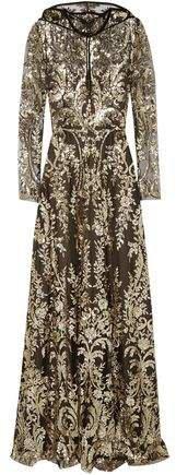 Velvet-trimmed Sequined Tulle Hooded Gown