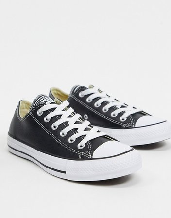 Converse Chuck Taylor All Star Ox Black Leather Sneakers | ASOS