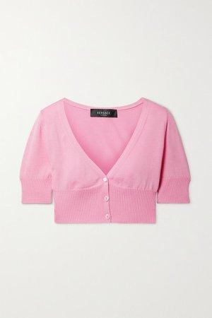 Cropped Wool Cardigan - Pink