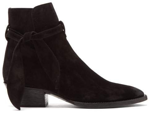 West Tie Side Suede Ankle Boots - Womens - Black