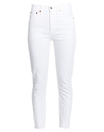 Stretch High Rise Ankle Crop in White | RE/DONE Jeans