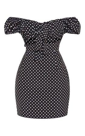 Black Polkadot Bardot Puff Sleeve Tie Bodycon Dress | PrettyLittleThing