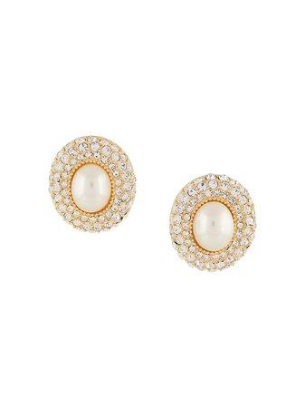 Christian Dior, rhinestone faux-pearl earrings