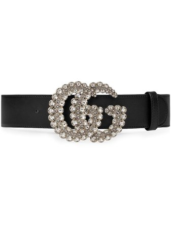 Shop black Gucci GG crystal leather belt with Express Delivery - Farfetch