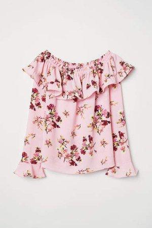 Off-the-shoulder Blouse - Pink