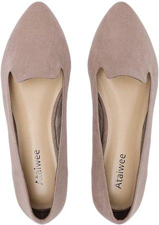 Amazon.com | Ataiwee Women's Wide Width Flat Shoes - Pointy Toe Slip On Cozy Classic Suede Cute Ballet Flats.(1905019-2, TA/MF, 10W) Tan | Flats