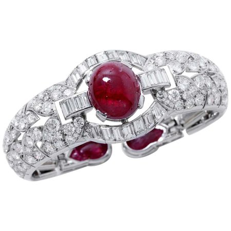 French Art Deco L.F.G Certified Natural Burmese Ruby Diamond Platinum Bracelet For Sale at 1stDibs