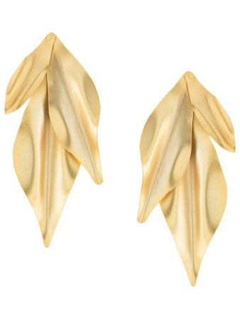 Mercedes Salazar Textured Leaf Earrings DOR227 Gold | Farfetch