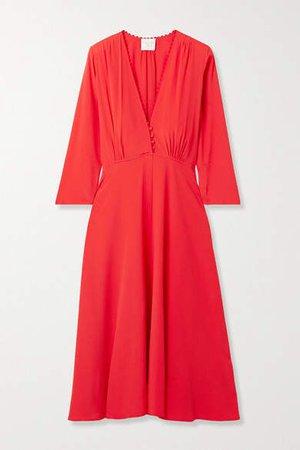 forte_forte - Crochet-trimmed Crepe Midi Dress - Tomato red