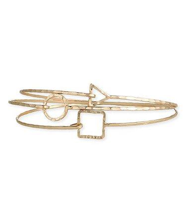 ZAD Goldtone Geometric Minimalist Three-Piece Bracelet Set | zulily