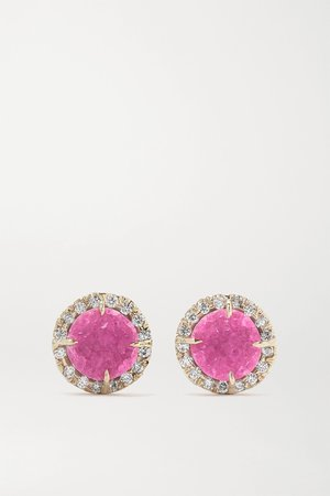 White gold 18-karat yellow and white gold, druzy and diamond earrings | Kimberly McDonald | NET-A-PORTER