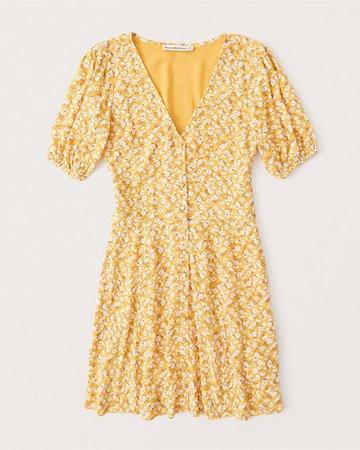 Women's Puff-Sleeve Button-Front Mini Dress   Women's Dresses & Jumpsuits   Abercrombie.com