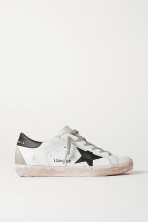 Superstar Distressed Leather Sneakers - White