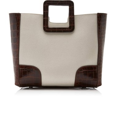 Shirley Canvas And Croc-Effect Tote