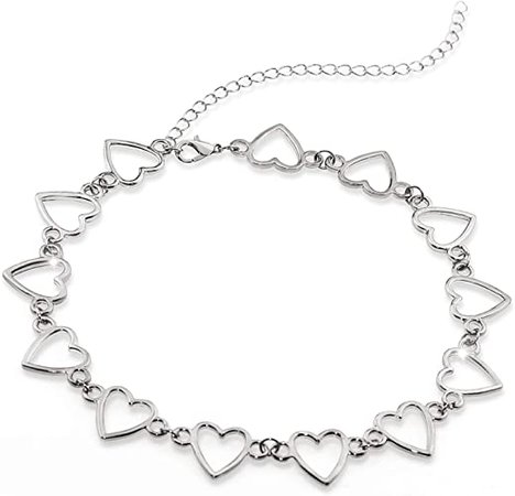 Suyi Choker Necklace - Simple Heart Chain Choker Statement Clavicle Necklace Gift for Women Girls Necklace Jewerly HeartSilver: Jewelry