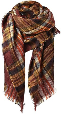 Zando Women's Scarves Fall Fashion Scarfs Soft Plaid Blanket Scarf Gifts for Women Cute Comfy Blanket Shawl Winter Shawl Cape Scarf Wrap Coffee Fall Scarf at Amazon Women's Clothing store