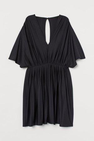 Pleated Jersey Dress - Black