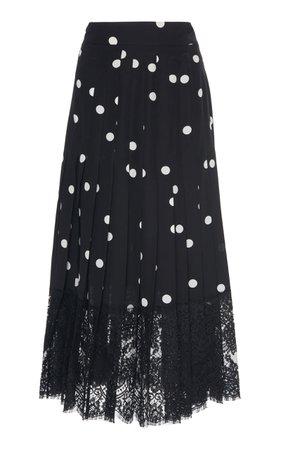 Lace-Trimmed Polka-Dot Silk-Blend Midi Skirt by Dolce & Gabbana | Moda Operandi