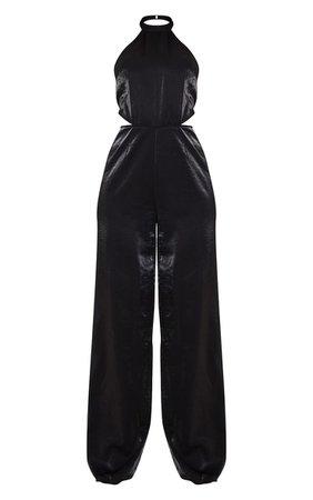 Black Halterneck Cut Out Wide Leg Jumpsuit   PrettyLittleThing