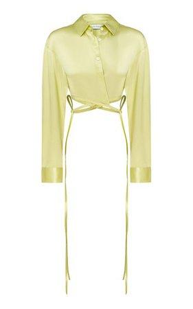 Tie-Detailed Silk Cropped Shirt By Christopher Esber | Moda Operandi