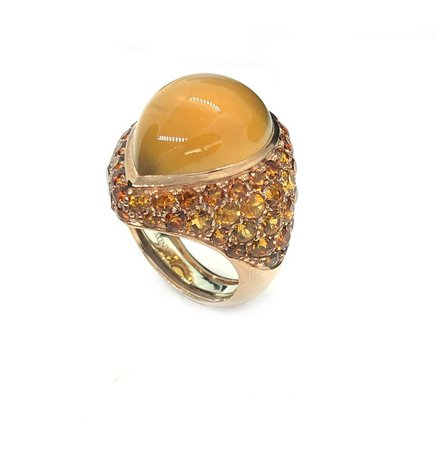 9k Gold Orange Citrine Pear Cabochon and Citrine Pavé Cocktail Ring