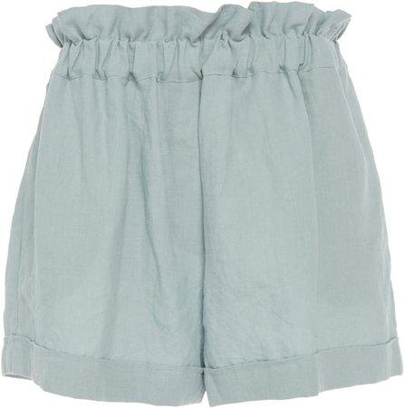 White Como Cloud Linen Shorts